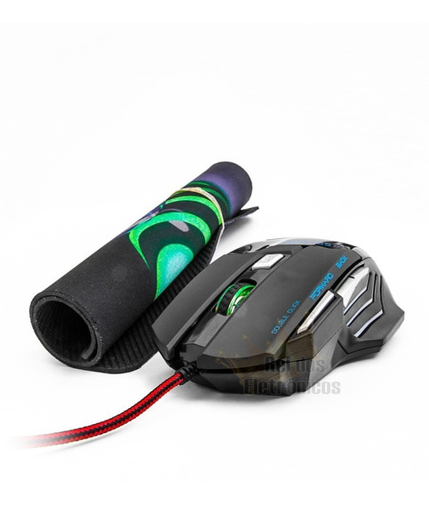 Mouse Gamer 3000dpi 7 Cores Luz Led Double Click Com Brinde