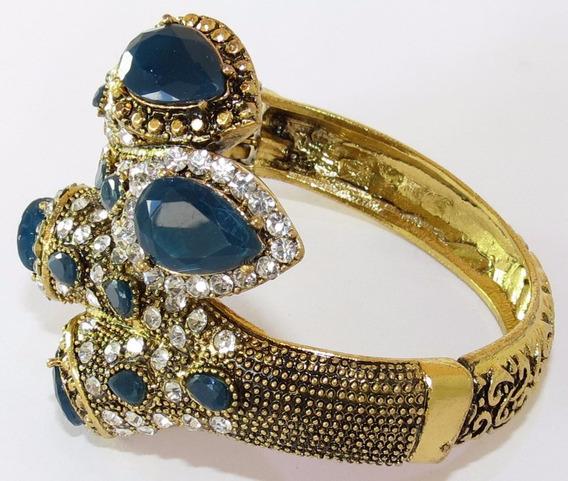 Bracelete Dourado Com Strass Grande-mola/abertura Azul