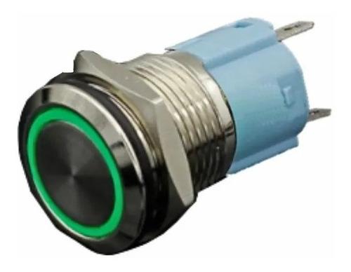 Imagen 1 de 2 de Interruptor Pulsador De Lujo Luz Verde 16mm Metálico 12vdc