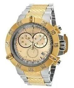 Relógio Invicta Subaqua 15949 Ouro 18 K E Prata Wr 500 M