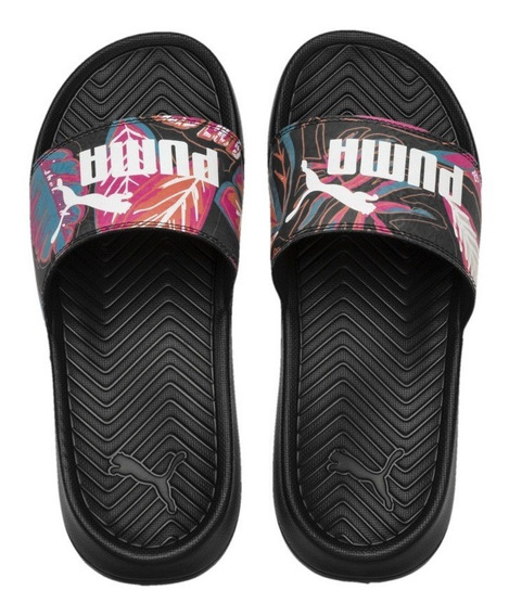 Chinelas Puma Pop Cat Flower Power Neg-bla Unisex