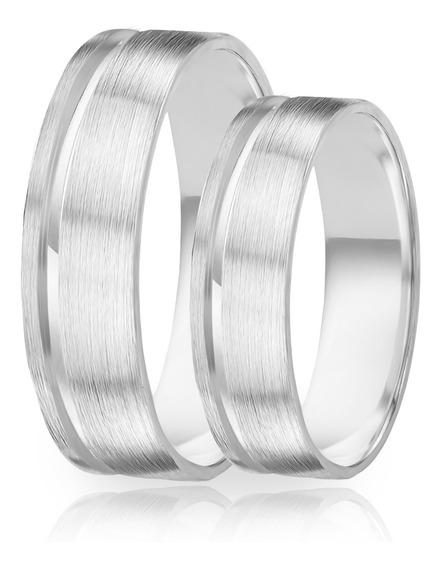 Alianças De Namoro Prata 950 Escovada 6.0 Mm