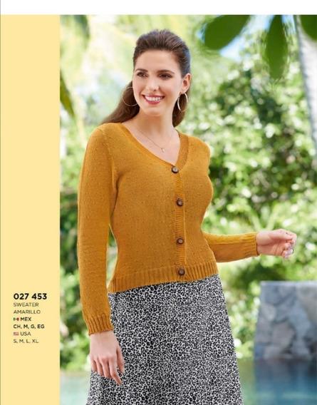 Sweater Sueter Dama Mundo Terra Amarillo 027-453 Canale Pv20