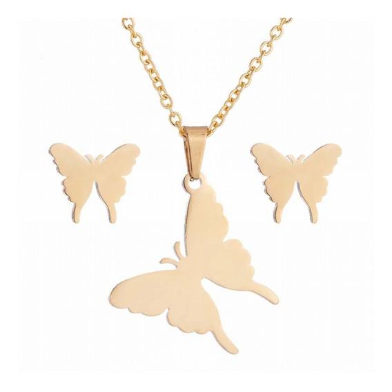 Conjunto De Collar Con Aretes Elegante Mariposa Original