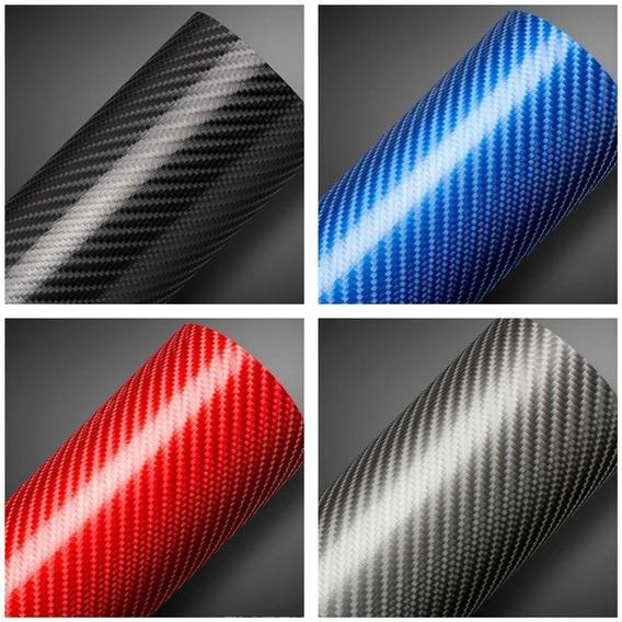 Adesivo Fibra De Carbono Preto 4d - Frete Grátis 30 X 150 Cm