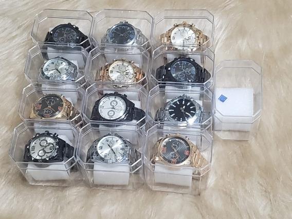 Kit 10 Relógios Masculinos Em Aço Luxo Pronta Entrega