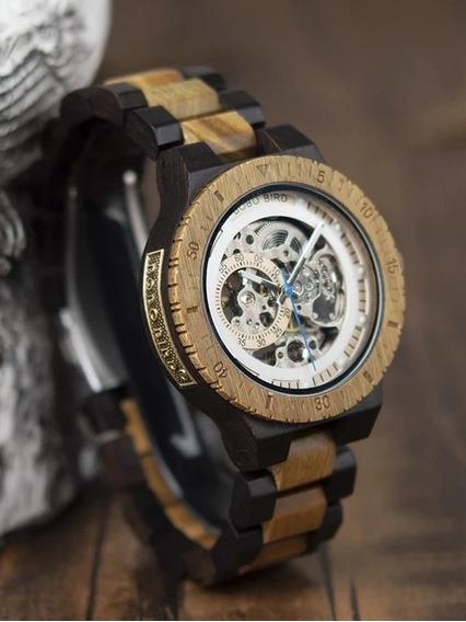 Reloj De Madera Bobo Bird Automatico