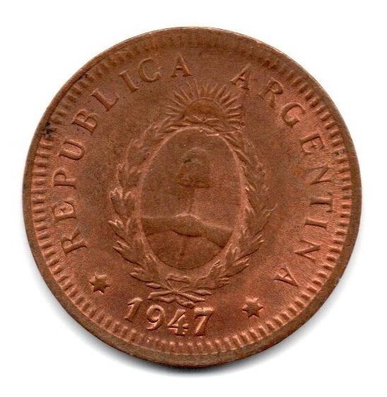 Moneda Argentina 2 Centavos Año 1947 Cj#182 Cobre Puro Sc-