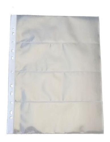 Cédulas Kit 10 Folhas De Polipropileno 4 Espaços P/ Cedulas
