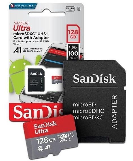 Cartão De Memória Micro Sd Sandisk Ultra De 128gb (2x1) !