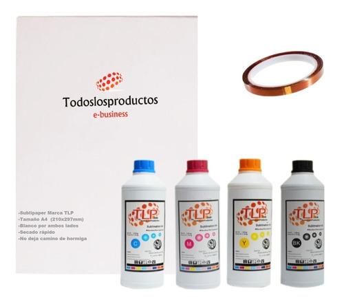 Imagen 1 de 10 de Kit 4 Tintas Premium T L P 100ml Sublimación+ Papel A4 Cinta