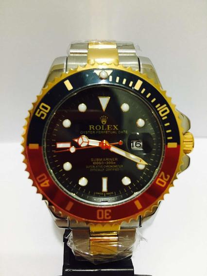 Relógio Em Aço Modelo Sub Misto Black Red