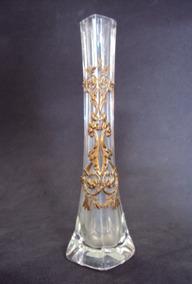 Vaso Vasinho Em Cristal Com Detalhes Arabescos Em Metal
