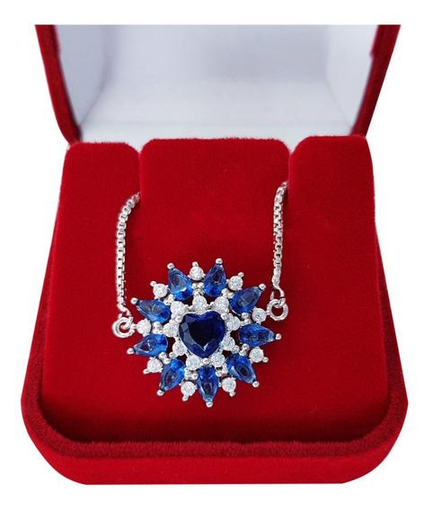 Pulseira Feminina Pedra Cristal Azul Coração Semi Jóia