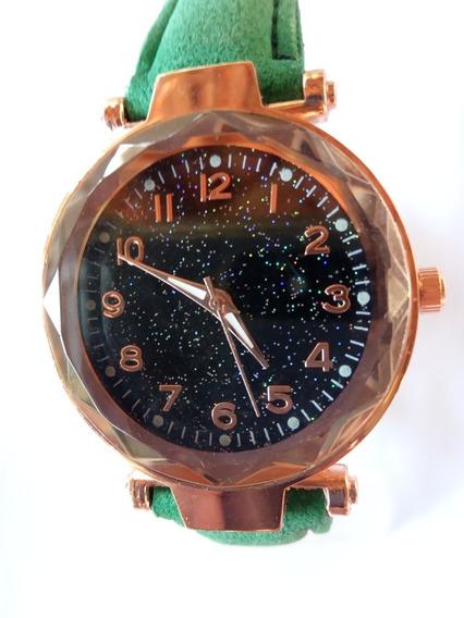 Relógio Feminino Dourado Pulseira De Couro Barato