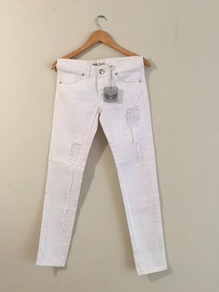 Jeans Off White Con Cristales