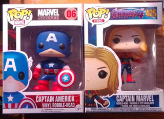 Muñecos Simil Pop Capitan America Y Capitana Marvel *juntos*