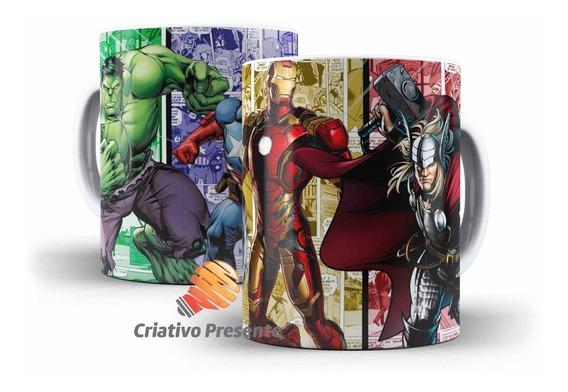 Caneca Marvel Vingadores Hq Thor Hulk Homem Ferro Capitão A