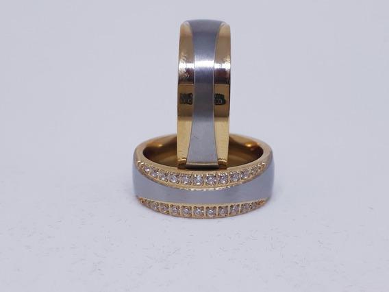 Par De Alianças 4 Banhos A Ouro E Prata + Caixinha De Luxo