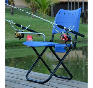 Cadeira Pesque Pague Suporte Vara Porta Isca E Lata Completa