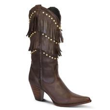 1ba0ad201 Bota Country Texana Couro Mustang Franjas E Strass Feminina