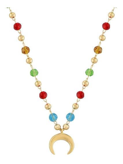 Colar Lua Com Zirconias Coloridas - Folheado A Ouro