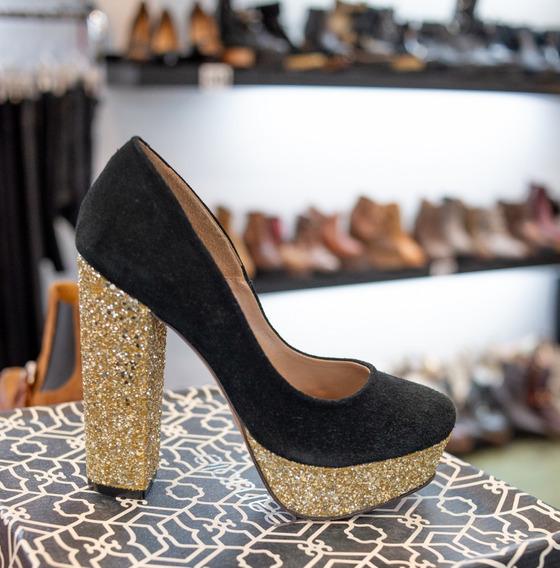 Zapatos Stilettos Paruolo Gamuza Y Strass