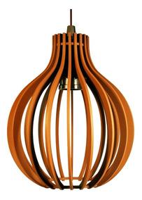 Lustre Luminária Redondo Pendente De Madeira De E-27 30cm