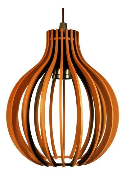 Lustre Luminária Redondo Pendente De Madeira De E-27 35x30cm