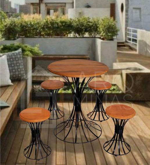 Mesa 4 Cadeiras Varanda Sala De Estar De Madeira Cozinha