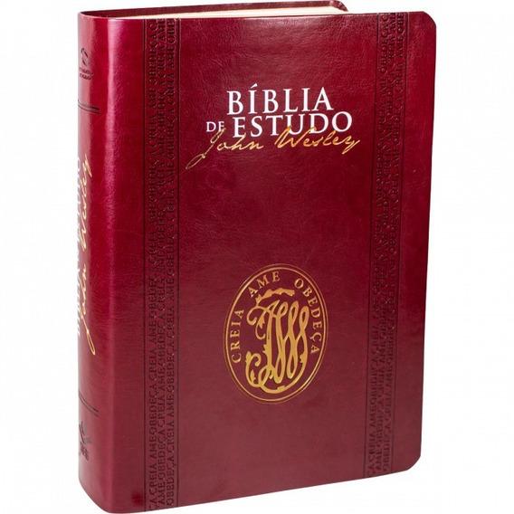 Bíblia De Estudo John Wesley Capa Couro Preta Ou Vinho Sbb