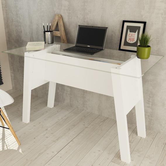 Mesa Para Escritório Com Tampo De Vidro Me4134 Branco