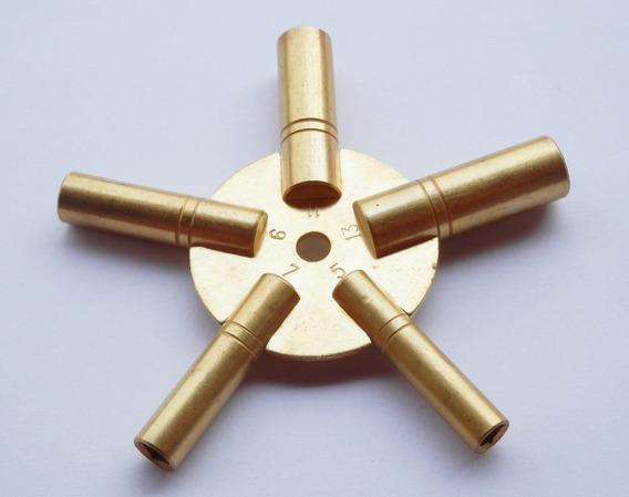 Chave De Corda Relógio Antigo Estrela N.5,7,9,11 E 13 Latão