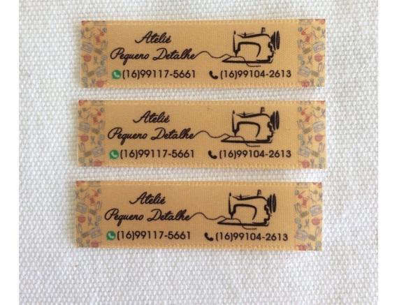 Etiqueta Personalizada Cetim - Tecido 100un - 1,5cm X 5cm