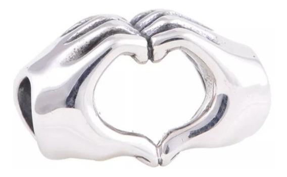 Charm Berloque Para Pandora Coração Amor Banhado Prata 925