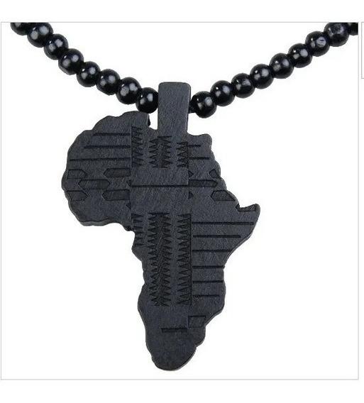 Colar Mapa Africa Rastafari Haile Selassie Preto