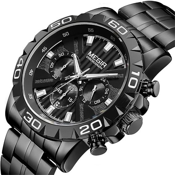Relógio Masculino Ponteiros Funcionais+garantia+(brinde) É Resistente À Água Social Aço Inoxidável