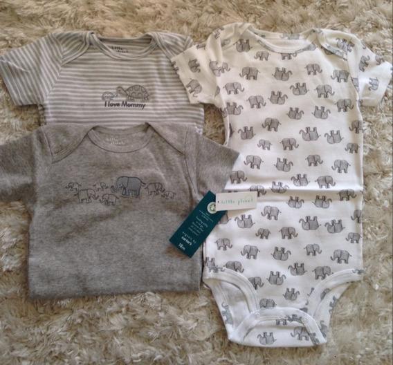Kit Body Carters Menina E Menino - Algodao Organico - 3 Pçs