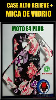 Case + Mica De Vidrio Motorola E4 Plus