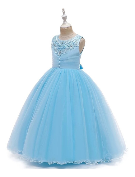 Vestido Elegante Niña Fiesta Cumpleaños, Graduación Azul