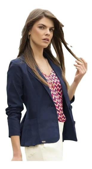 Blazer Feminino Drapeado Azul Marinho Em Sarja - 1463472