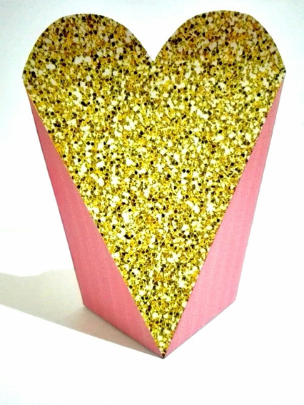 Kit Imprimible Cajita Corazón San Valentín Rosado Dorado