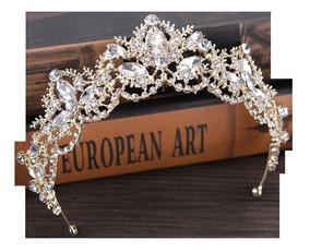 Coroa Tiara Noiva Daminha Debutantes Casamento Dourada 011