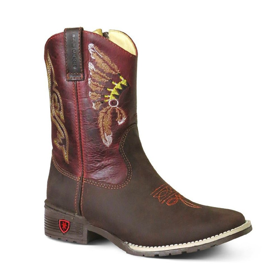 Bota Country Texana Bq Infantil Couro C Horse Fossil Caf/bor