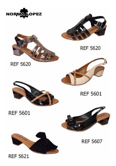 03 Pares Sandálias Sapatos Norma Lopez Saltinho 4cm