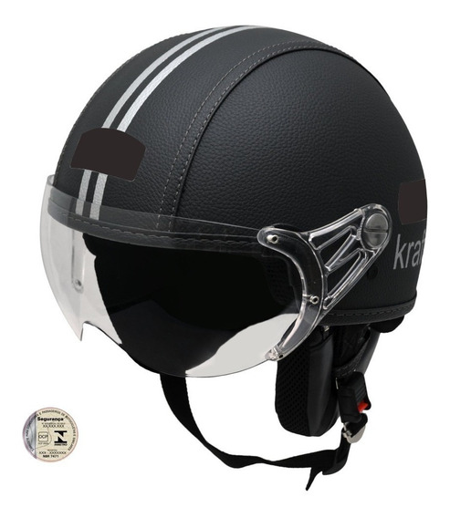 Capacete Kraft Couro Preto Custom Harley Drag Shadow Com Nf