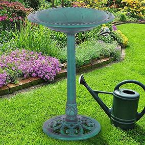 Pedestal Verde Aves Baño Alimentador Independiente Jardín...