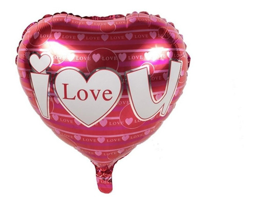 Imagen 1 de 1 de Globo Metálico De Corazon  I Love You  - 5 Pack -
