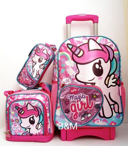 Mochila Unicornio Onix Pony Primaria C-carro Lonchera Y Lap