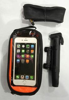 Combo Bolso Porta Celular + Inflador Mini + Camara Rod 29